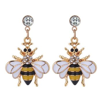 Flying Honey Bee Crystals Earrings Big Long Dangle Drop Earrings For Women Girls Jewelry Gifts