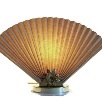Vintage Fan Table Lamp, Celery Green, Accordion Fan, Gold Flower Base, Mid Century