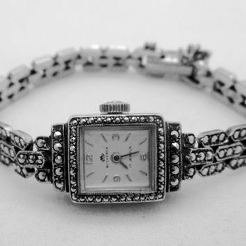 VintAGE Art Deco BUCHERER SILVER WATCH 800 Silver Marcasite Wrist Watch Bracelet 17 Jewels Runs