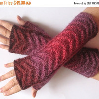 Fingerless Gloves Red Beet Purple Dark Brown wrist warmers