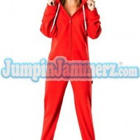 Candy Apple Red  - Hooded Footed Pajamas - Pajamas Footie PJs Onesuit One Piece Adult Pajamas - JumpinJammerz.com
