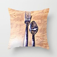 Forks and knives Throw Pillow by Jveart
