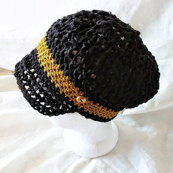 Ladies newsboy hat  Crochet Billed beanie Faded black cap Wool blend ribbon yarn Slouch cloche teen girls