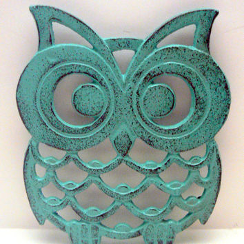 Owl Trivet Hot Plate Dark Turquoise Shabby Chic Distressed Kitchen Rustic Woodsy Decor Aqua Blue Ornate Cast Iron
