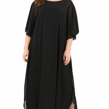 Black Plus Size Ruffle Chiffon Maxi Dress with Slit Sleeves