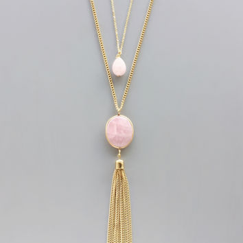 Layered Soft Rose Quartz Necklace