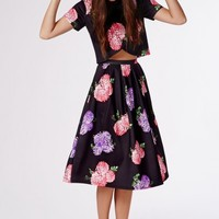 Missguided - High Waisted Floral Print Full Midi Skirt Black
