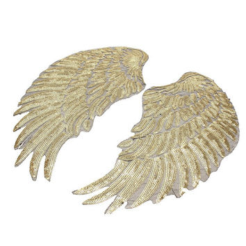 One Pair Winged Sequined Wings Applique Patch Champagne Color Iron On Exaggerated Motif for Garment Clothes Dress DIY Accessory