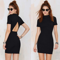 Black Cutout Back Short Sleeves Bodycon Mini Dress