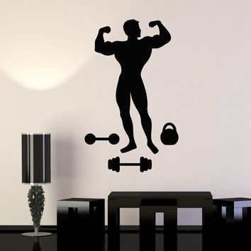 Vinyl Wall Decal Muscled Man Bodybuilding Fitness Gym Iron Sports Stickers Unique Gift (ig2995)
