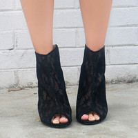 Moonlit Valley Black Caged Lace Stiletto Zip Up Peep-Toe Bootie