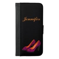 Personalized purple high heeled shoes on black