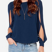 Navy Blue Cut-Out Sleeve Chiffon Blouse