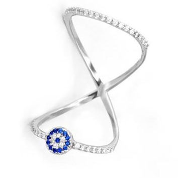 Evil Eye Double Layer Ring