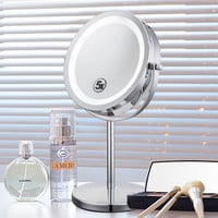 6 Inch 5x Magnification Cosmetic Makeup Mirror Round Shape 2Sided Rotating Magnifier Mirror  LED Light Makeup Mirror for Make up