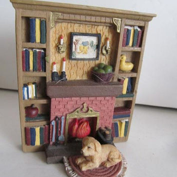 Fireplace Puppy on Rug Bookcase Dollhouse Furniture Dollhouse Miniature Dollhouse Display Living room Decor Dollhouse Library Decor vignette