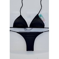 Black 3 Piece Set Triangle Top, Side Tie Thong & Side Tie Scrunch Bottom Bikini Swimsuit (Many colors available)