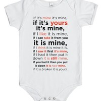 Baby Laws of Possession-Unisex White Baby Onesuit