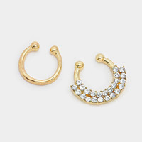 Faux Septum Piercing Diamond Rhinestone, Silver Clip On Septum Ring