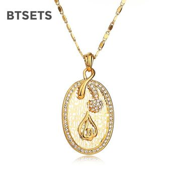 BTSETS Pendant Necklaces Women Necklaces Allah Muslim Isamic Jewelry Pendant Necklace Gold Color Wedding Statement Necklace