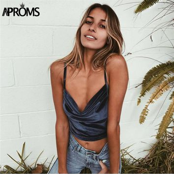 Aproms Solid Color Stretch Velvet Tank Top 90's Cool Girls Basic Streetwear Fashion Low Back Cropped Camis Women 2017 Short Tees