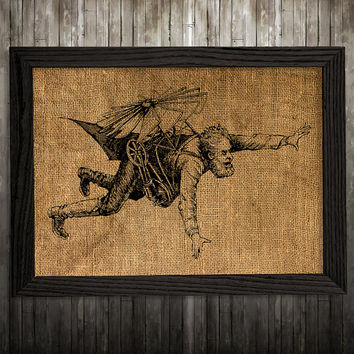 Steampunk poster Antique print Burlap print Victorian decor BLP907