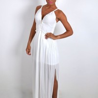 Olympia White Zip Front Maxi Dress | Pink Boutique