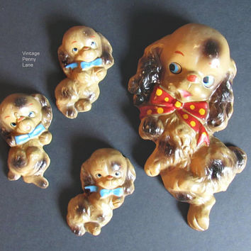Vintage Chalkware Dog and Puppies, Wall Hangings, Kitsch Mid Century Decor