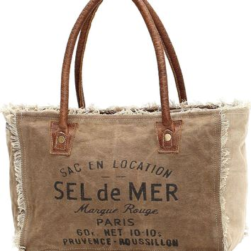 Myra Bag Sel De Mer Up-cycled Canvas Hand Bag S-1046