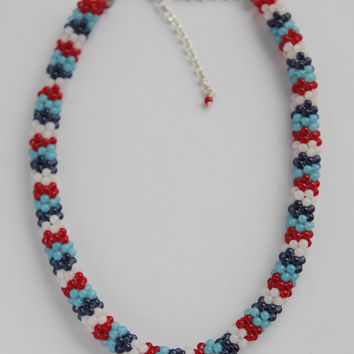"Handmade beaded necklace ""Icicles"""