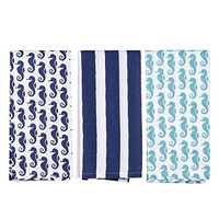 Seahorse and Stripes Beach House Cotton Dish Towel Set of 3