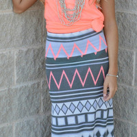 No Filter Chevron Maxi Skirt - Haute Pink