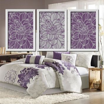 Purple Gray Bedroom Pictures, CANVAS or Prints Bathroom Decor, Bedroom Pictures, Flower Wall Art, Pictures, Dahlia Flower Set of 3 Home