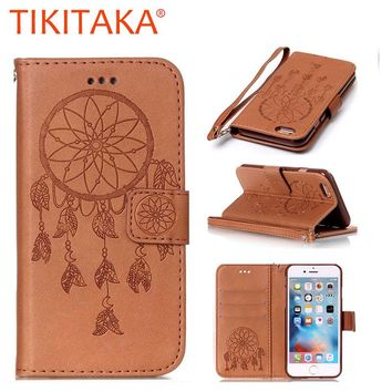 Luxury Leather Flip Case for Apple iPhone 7 6 6S 5 5S SE Fundas Multifunction Dreamcatcher Card Holder Phone Protective Cover