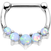"16 Gauge 5/16"" White Synthetic Opal Steel Bar Simple Septum Clicker 
