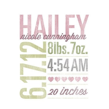 Custom Birth Announcement - 8x10 - Vintage Style - Typographic Art Print - Custom Nursery Art