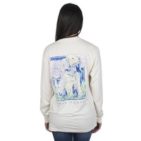 Peony Puppy Long Sleeve Tee in Ivory by Lauren James