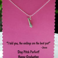 Pitch Perfect Graduation Card with Jesse Quote and Microphone Necklace