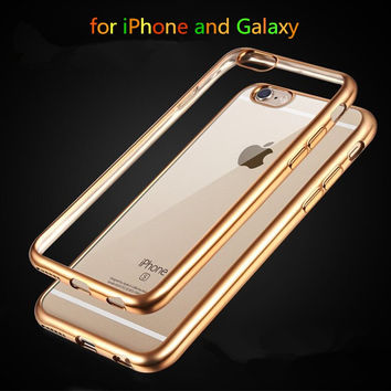 """Top Quality Electroplated Soft Clear Cases For Apple iphone 6 6S 4.7"""" / 6 6s Plus 5.5"""" 5 5s Mobile Phone Back Bags Cover Cases"""