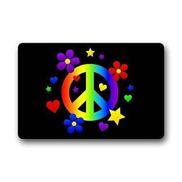 """Autumn Fall welcome door mat doormat  Peace Sign Colorful Indoor/Outdoor/Front Welcome (30""""x18"""",L x W) AT_76_7"""