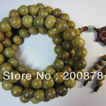 BRO625 Natural Green Sandalwood 12mm Beads Necklace Buddhist 108 Green Sandal prayer malas Rosary natural wooden beads