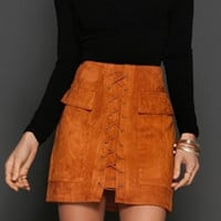 Lace Up High Waist Bodycon Faux Suede Mini Skirt