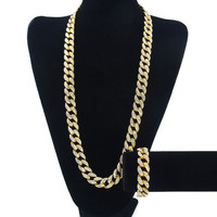 14K Gold Plated Iced Out Cuban Link Chain and Bracelet Set