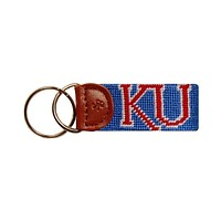 University of Kansas Needlepoint Key Fob in Blue by Smathers & Branson