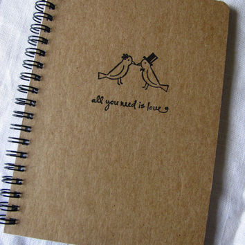 Bride and Groom birds with quote- hand stamped chipboard notebook- 5 x 7 inches