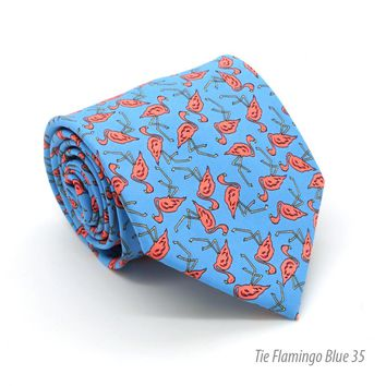 Flamingo Blue Necktie with Handkerchief Set