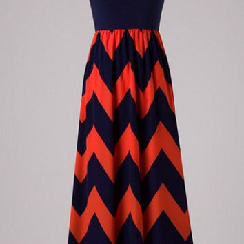 Show Time Chevron Maxi Dress - Navy and Orange