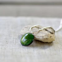 Green enamel pendant - small enamel necklace - round dainty necklace - handmade jewelry by Alery