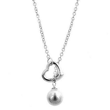 Silver Heart and Pearl Drop Lariat Necklace