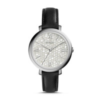 Jacqueline Black Leather Watch
